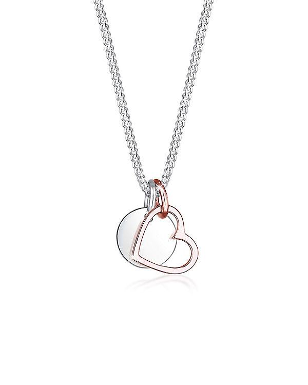 Elli Halskette Herz Kreis Valentin 925 Sterling Silber silber