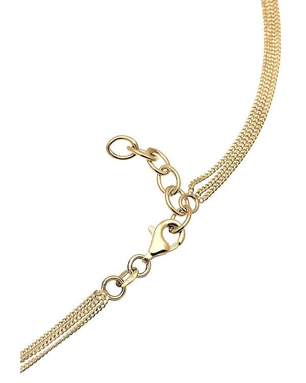 Elli Halskette Halbmond Layer Swarovski® Kristalle 925 Silber gold
