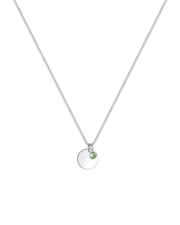 Elli Halskette Geburtsstein Farbe Swarovski® Kristalle 925 Silber hellgrün