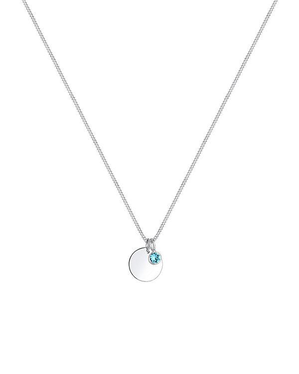 Elli Halskette Geburtsstein Farbe Swarovski® Kristalle 925 Silber hellblau