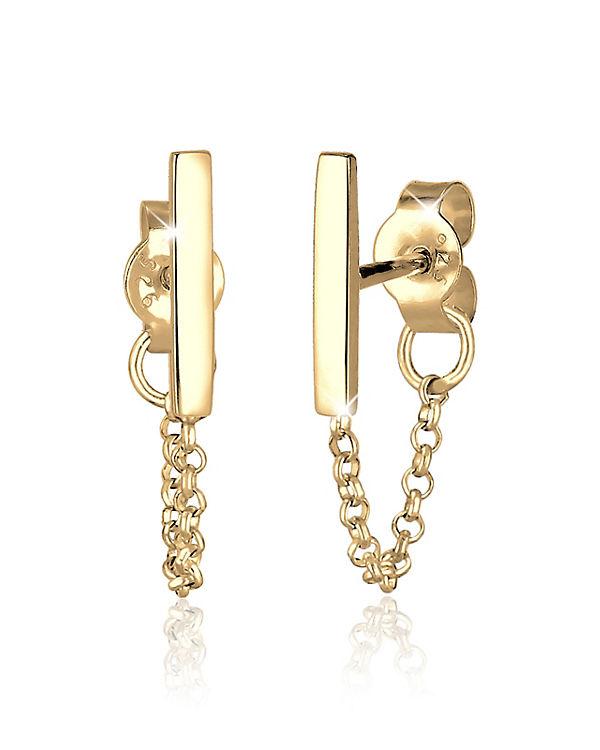 Elli Ohrringe Kette Trend Geo Basic 925 Sterling Silber gold