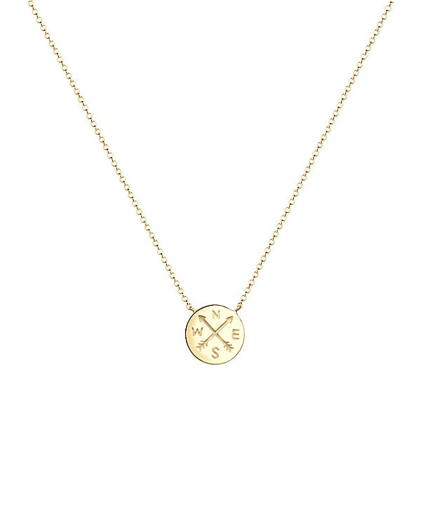 Elli Halskette Kompass Wanderlust Reise Trend 925 Sterling Silber gold