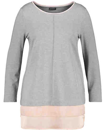 T-Shirt Langarm Rundhals Sweat-Shirt mit Chiffon-Patch Langarmshirts