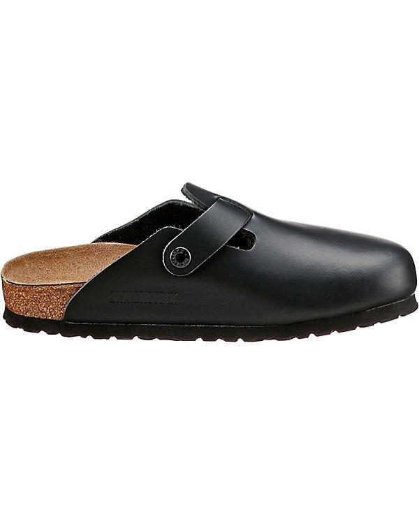 BIRKENSTOCK, Boston schmal Komfort-Pantoletten, schwarz schwarz schwarz 5d0890