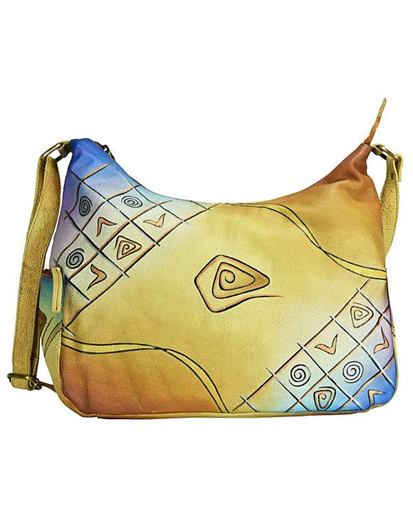 Greenland Art cm mehrfarbig Nature Leder Handtasche 36 GreenLand Craft afdHdv