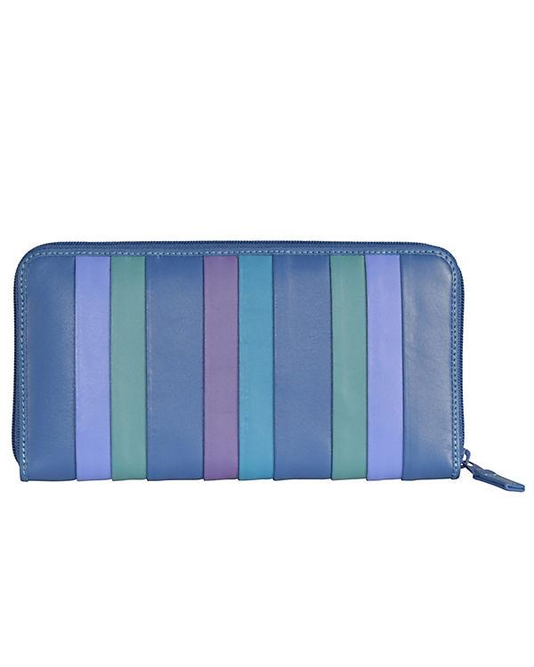 Mywalit Mywalit Zip Around Purse Geldbörse Leder 19 cm blau-kombi