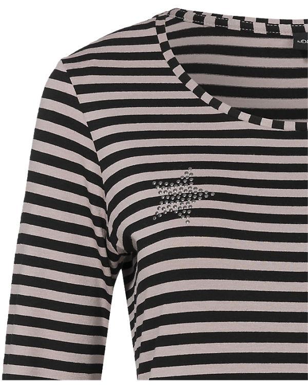 s.Oliver BLACK LABEL Langarmshirt schwarz/beige