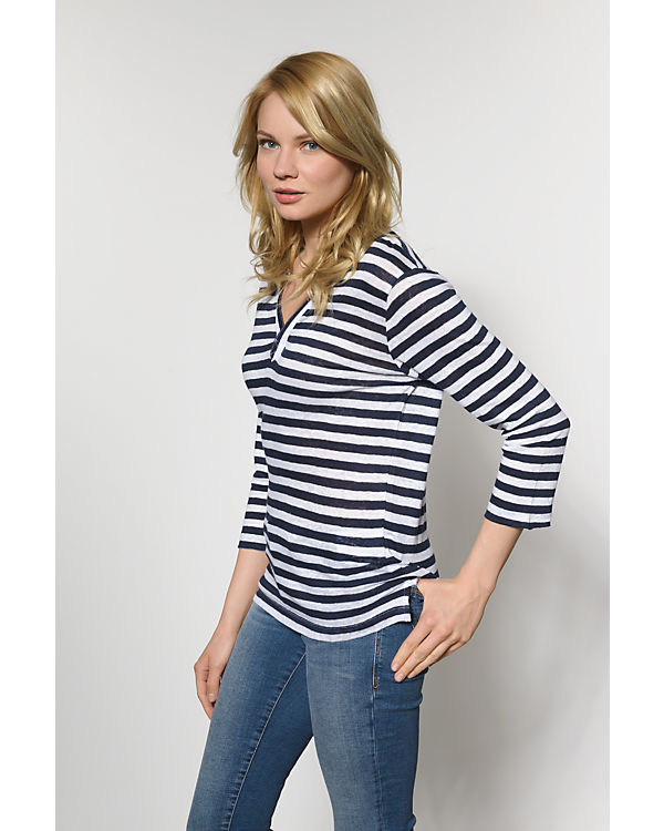 BLUE Shirt blau 3 weiß Arm 4 SEVEN rwpH0Iqr
