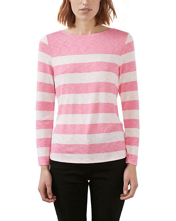 ESPRIT Langarmshirt pink/weiß