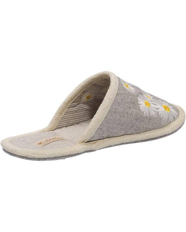 Adelheid Adelheid Glücklich Blume Hausschuhe grau