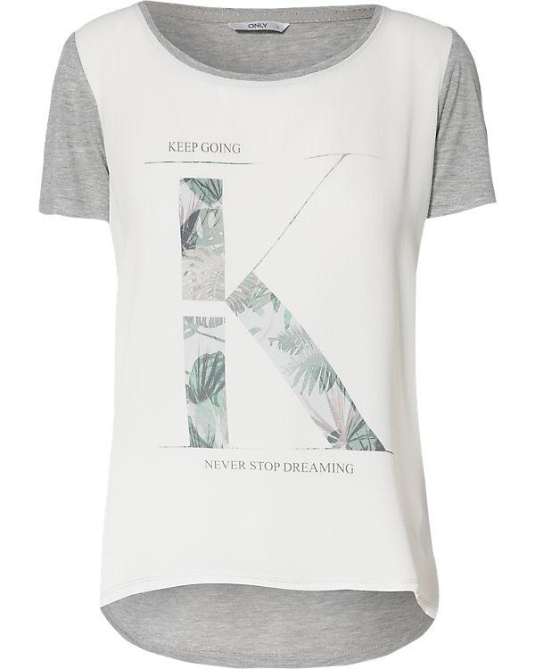 T T Shirt weiß ONLY weiß grau T grau ONLY ONLY Shirt weiß Shirt dIpZqww