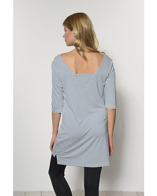 VILA Longshirt blau/weiß