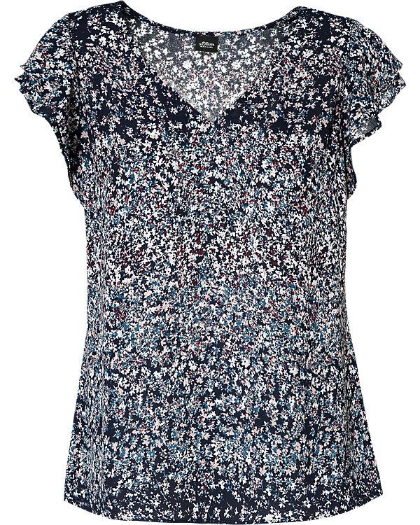 s.Oliver BLACK LABEL Blusenshirt blau/weiß