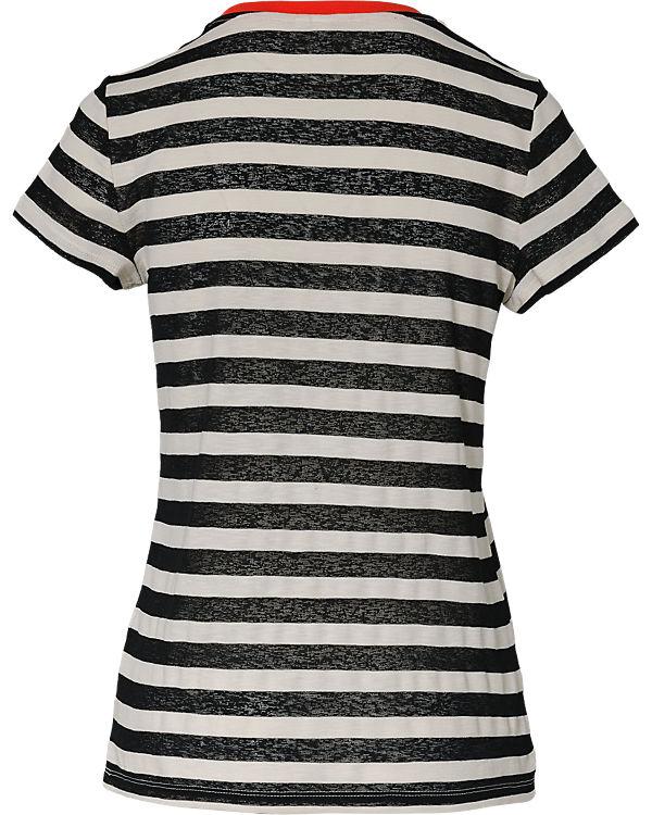Q/S T-Shirt schwarz/weiß