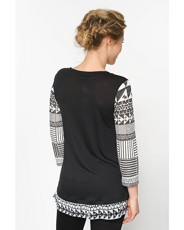Desigual 3/4-Arm-Shirt schwarz/weiß