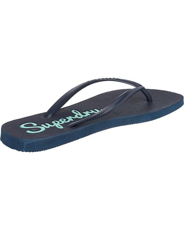 Superdry, Zehentrenner, Super Sleek Flip Flop Zehentrenner, Superdry, blau b1a07c