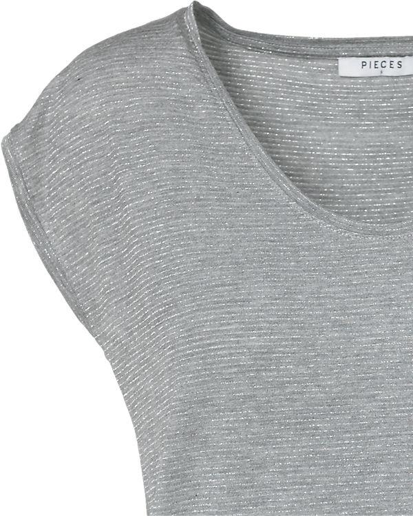 pieces T-Shirt hellgrau