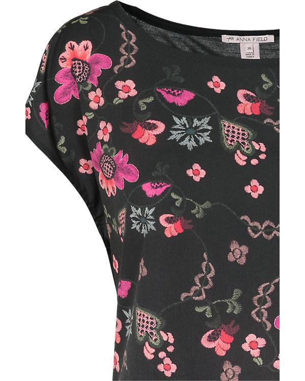 Anna Field Blusenshirt schwarz/pink
