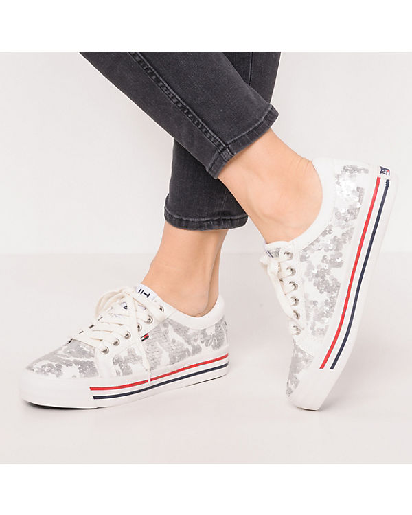 TOMMY JEANS TJ Fashion Sequin Sneaker Sneakers Low weiß Günstig Kaufen 2018 Erschwinglich Günstig Online vAcfveUQm