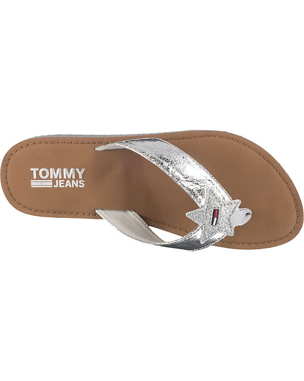 Zehentrenner Glitter JEANS TOMMY Beach Sandal silber qPI1d5w1