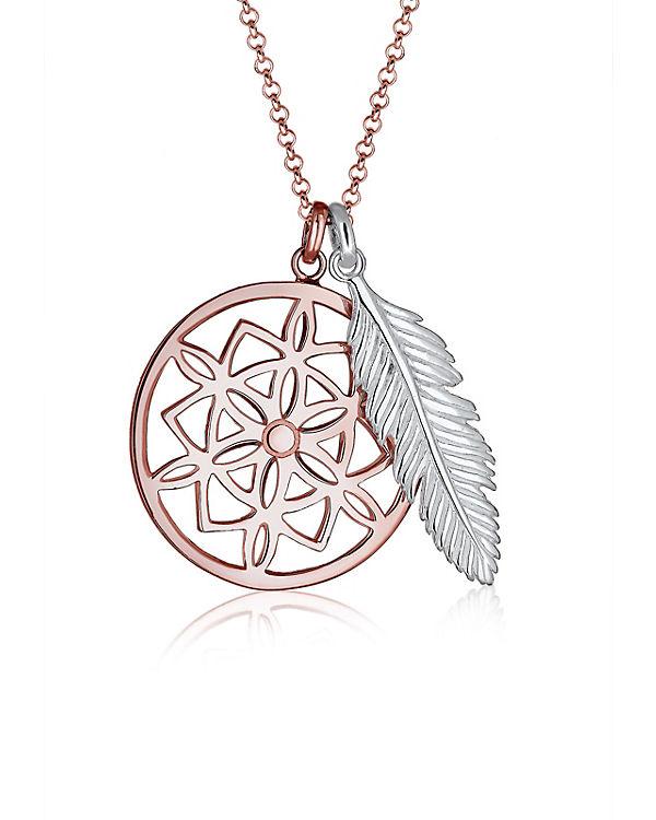 Elli Halskette Traumfänger Feder 925 Sterling Silber rosa