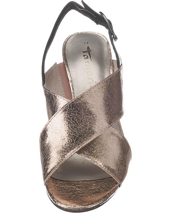 Tamaris Klassische Sandaletten schwarz/rosa