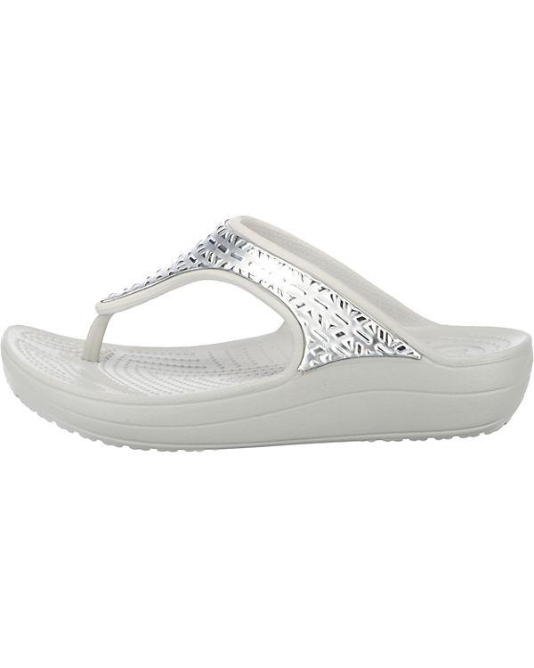 Komfort Graphic crocs Etch weiß silber Flip Met Pantoletten W Sloane xTRRwaqY