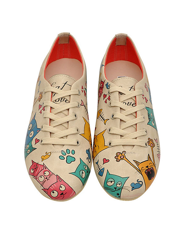 Dogo Shoes Schnürschuhe Cat Lovers mehrfarbig