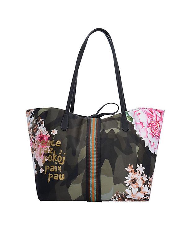 Desigual Bols Capri Militar Flores Shopper grün