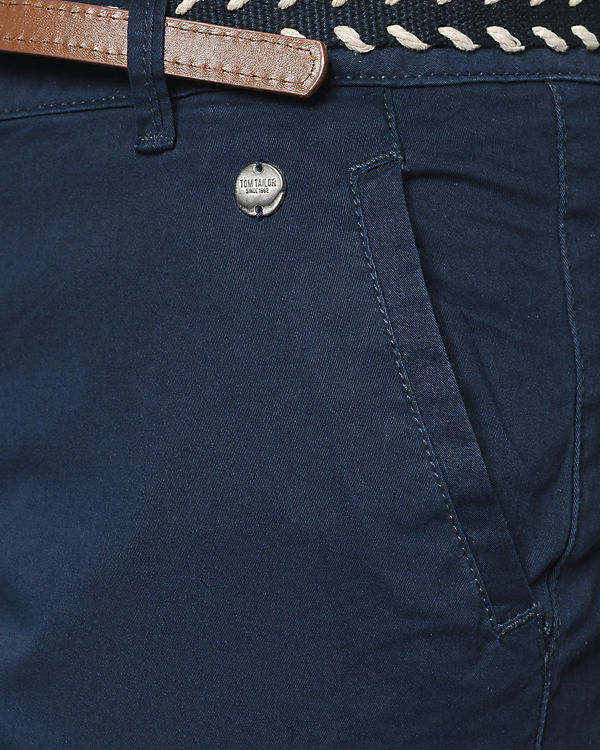 TOM TAILOR Chinohose mit Gürtel blau Billige Finish 100% Garantiert 7aJ5D