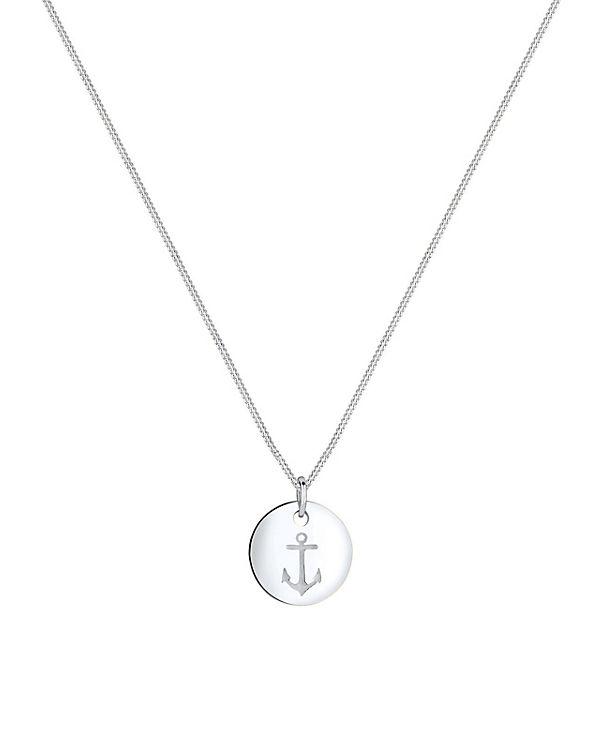 Elli Halskette Anker Münze Maritim 925 Sterling Silber silber