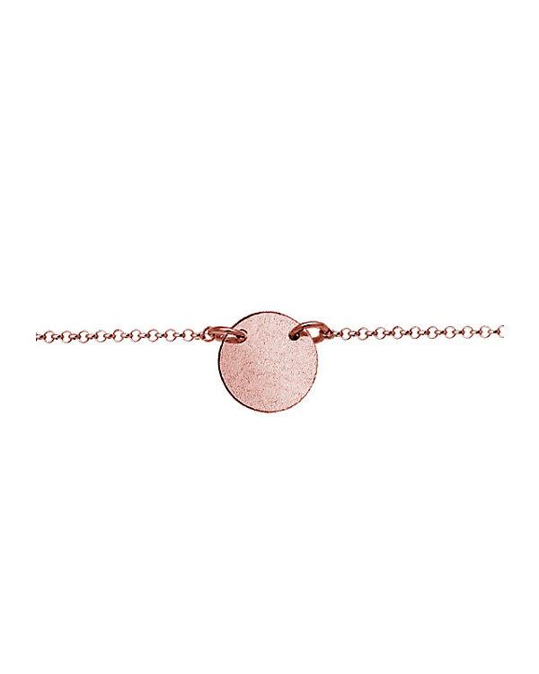 Elli Halskette Choker Kreis Plate Matt 925 Sterling Silber rosa
