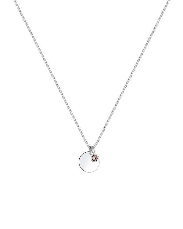 Elli Halskette Geburtsstein Farbe Swarovski® Kristalle 925 Silber grau