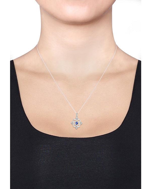 Halskette Geburtsstein Lotus Swarovski® Kristalle 925 Silber blau
