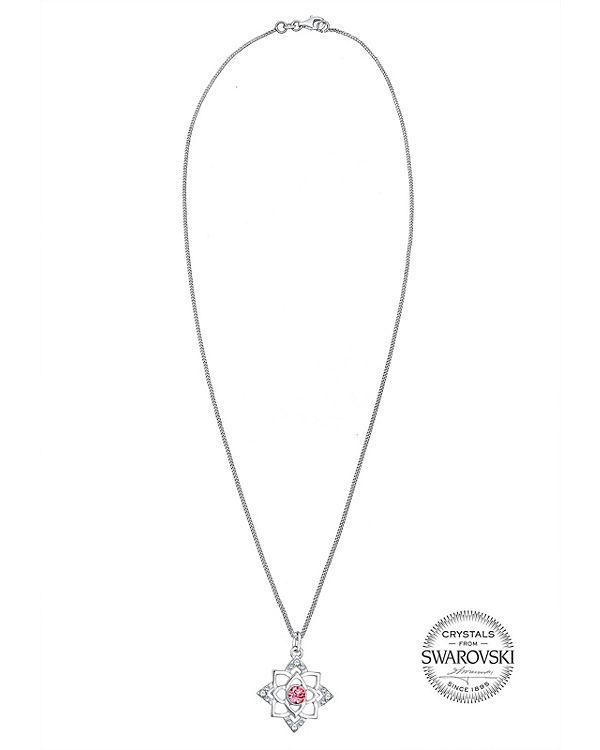 Halskette Geburtsstein Lotus Swarovski® Kristalle 925 Silber pink
