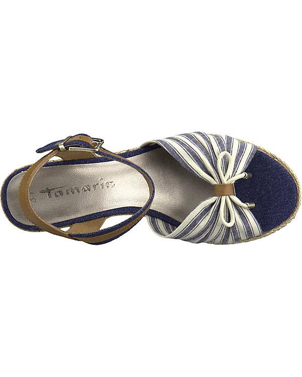 blau weiß Tamaris weiß Keilsandaletten Tamaris blau Keilsandaletten Pvqxz76q