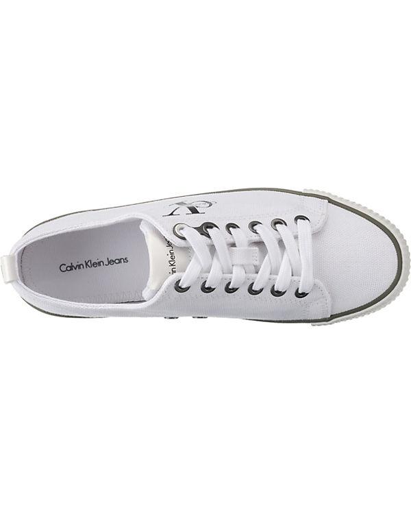 CALVIN Sneakers KLEIN JEANS, DORA CANVAS Sneakers CALVIN Low, beige f0175b