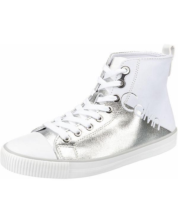 DOTTY High KLEIN Sneakers CANVAS wei CALVIN silber FLOCKING METAL JEANS SE0qpPn