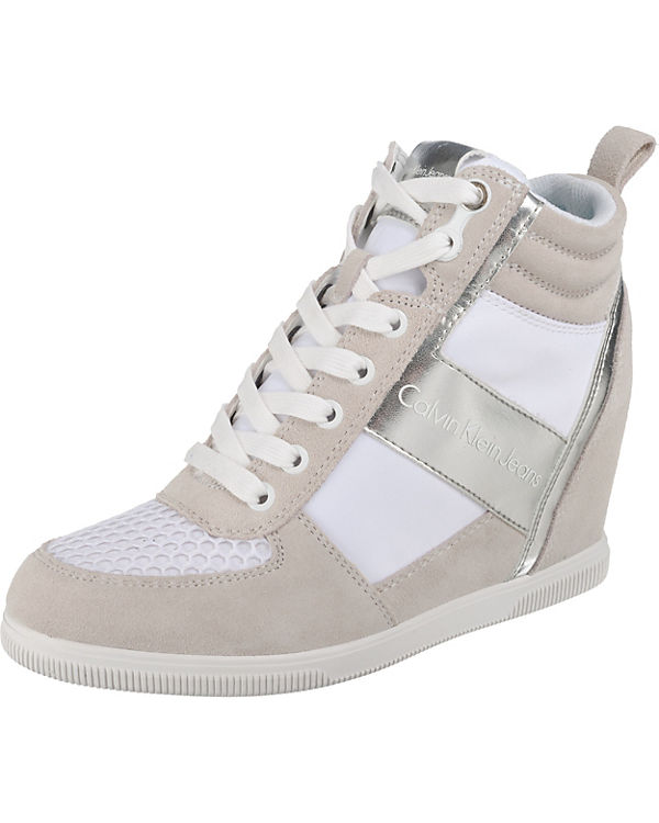 METAL NYLON JEANS silber BETH High SMOOTH Sneakers KLEIN weiß SUEDE CALVIN wXIPqP