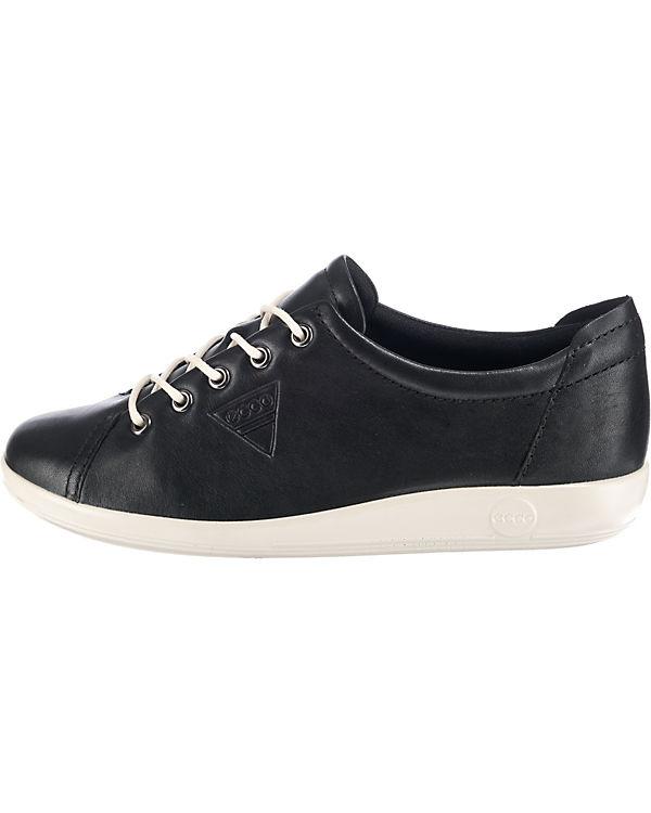 ecco Soft 2.0 Black Feather Sneakers Low schwarz