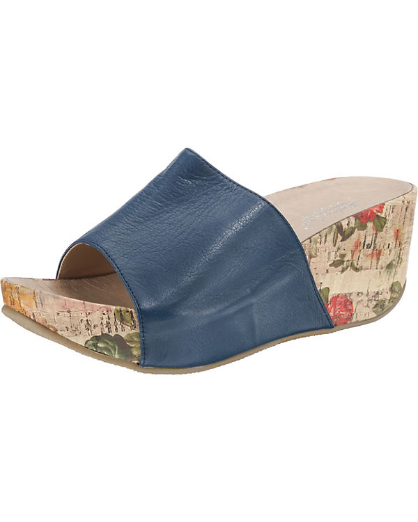 Andrea Conti Plateau-Pantoletten dunkelblau