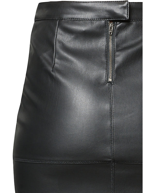 VILA Kunstlederrock schwarz