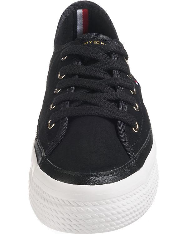 Low SUEDE Sneakers HILFIGER schwarz FLATFORM SNEAKER TOMMY XBq4Rw6n