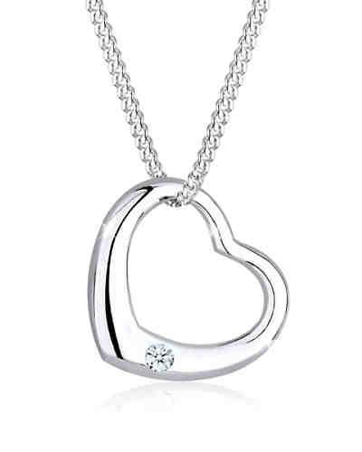 Halskette Herz Liebe Diamant (0.03 ct.) 925 Silber ... 9b535099da