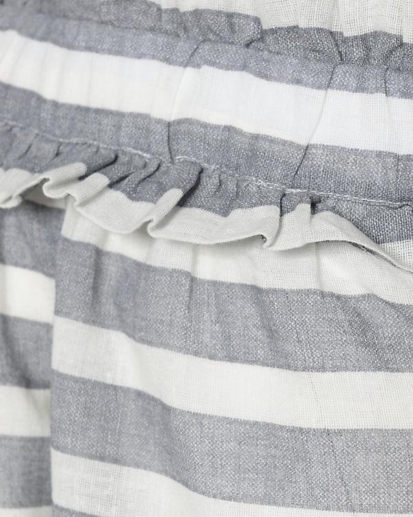 Bluse grau weiß VILA Shoulder Off wCv8qqxRE