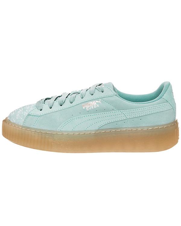 PUMA, Suede grün Platform Pebble Sneakers Low, grün Suede b53a9e