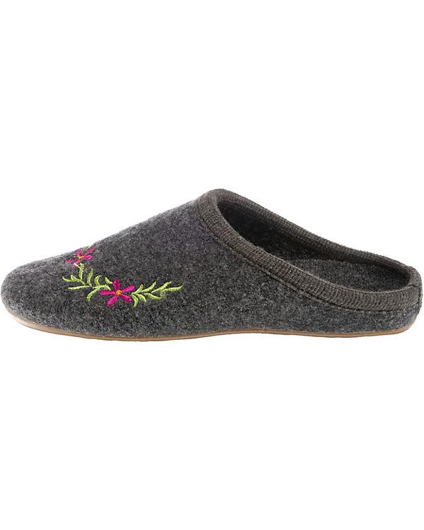 HAFLINGER, Dakota Flower Pantoffeln, Pantoffeln, Pantoffeln, grau 637725
