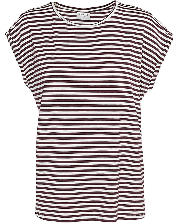 VMAVA PLAIN SS TOP STRIPE GA - T-Shirts - weiblich