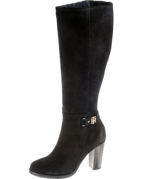 SUEDE TOMMY BUCKLE HILFIGER HEELED TH BOOT Klassische schwarz LONG Stiefel OBfqaO