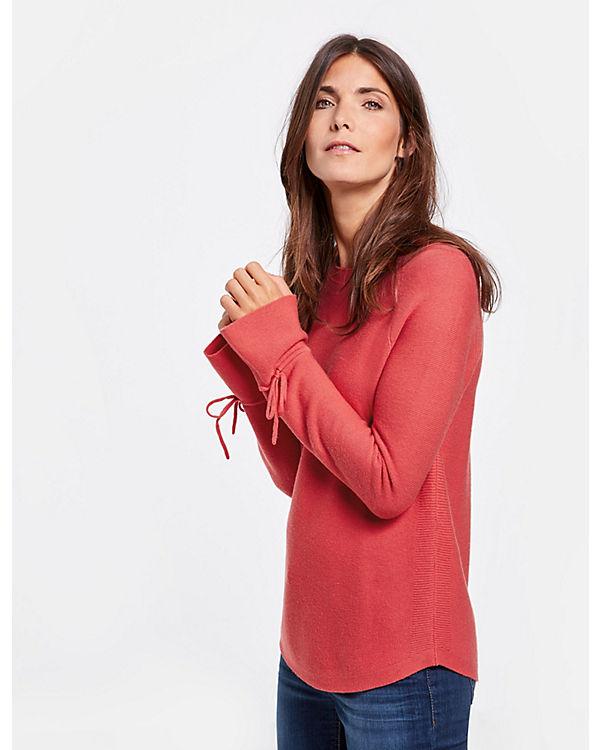 Schleifen mit Rundhals VolantärmelSweatshirts am rot Pullover Langarm Pullover Weber Gerry qHUfw